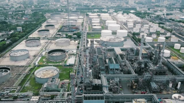 aerial shot of oil refinery - gasoline stock videos and b-roll footage
