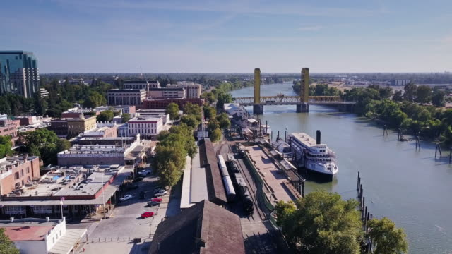 aerial shot of old sacramento historic district - old town bridge tower stock videos and b-roll footage