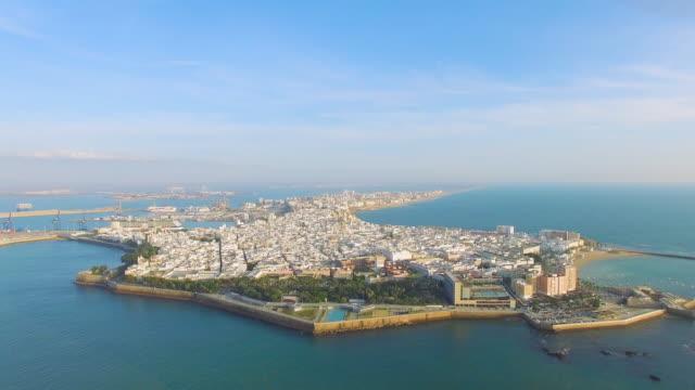 aerial shot of old town cádiz - cádiz stock videos and b-roll footage