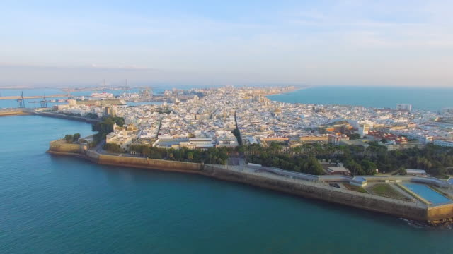 Aerial shot of old town Cádiz