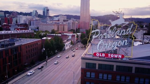 aerial shot of old town portland sign - portland oregon stock videos & royalty-free footage