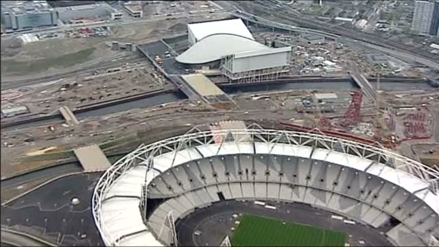 Aerial shot of Olympic park for the London 2012 games