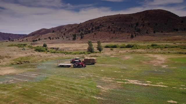 aerial shot of oregon farmland - tractor stock videos & royalty-free footage