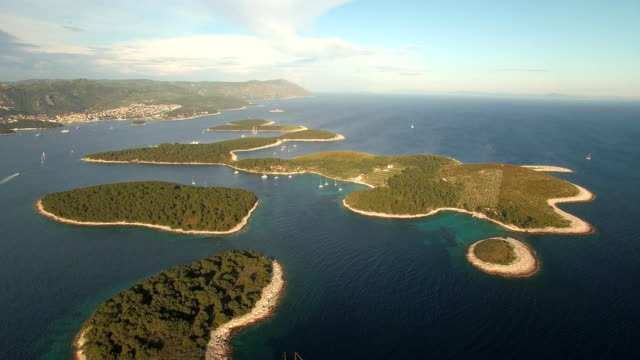 Aerial Shot of Paklinski Island in Croatia