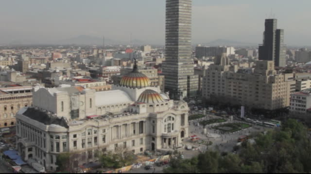 aerial shot of palacio de bellas artes in mexico city - helicopter point of view stock videos & royalty-free footage