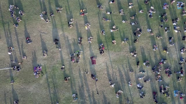 aerial shot of people at the park - large group of people stock videos & royalty-free footage