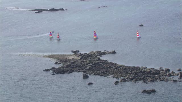 vidéos et rushes de aerial shot of people sailing catamarans off the coast of brittany.  - bretagne
