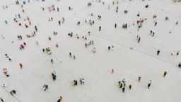 Aerial shot of people walking