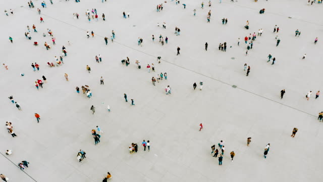 aerial shot of people walking - crowd stock videos & royalty-free footage
