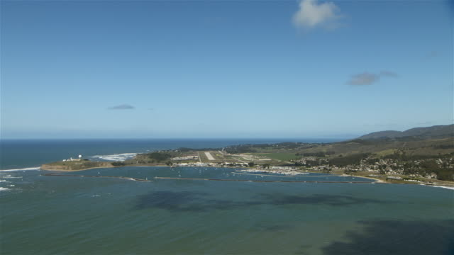 Aerial shot of Pillar Point Harbor at Half Moon Bay located in San Mateo County, Northern California.