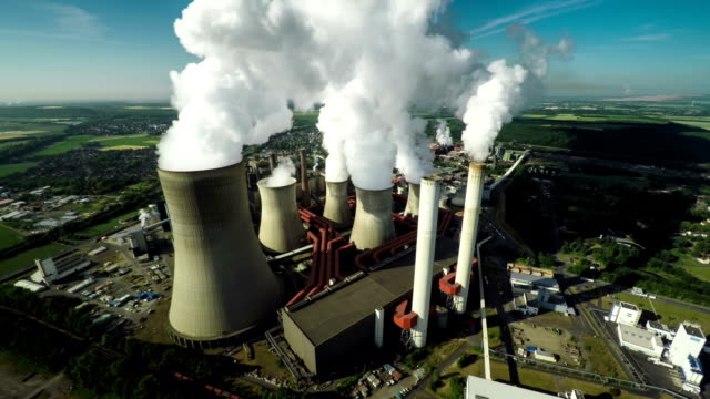 aerial shot of power station - power station stock videos & royalty-free footage