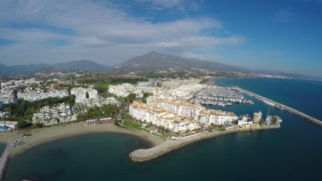 Aerial shot of puerto banus in costa del sol
