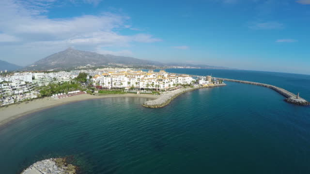 Aerial shot of puerto banus in costa del sol