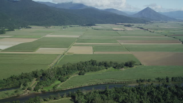 Aerial shot of Queensland farms, Australia.