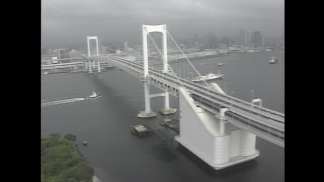 aerial shot of rainbow bridge on the day of opening ceremony august 29 1993 - anno 1993 video stock e b–roll
