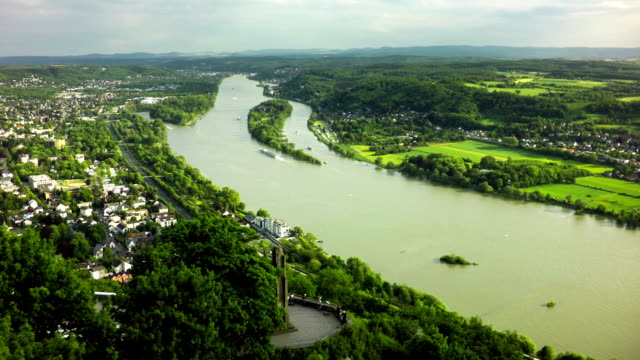 aerial shot of rhine valley in germany - river rhine stock videos & royalty-free footage