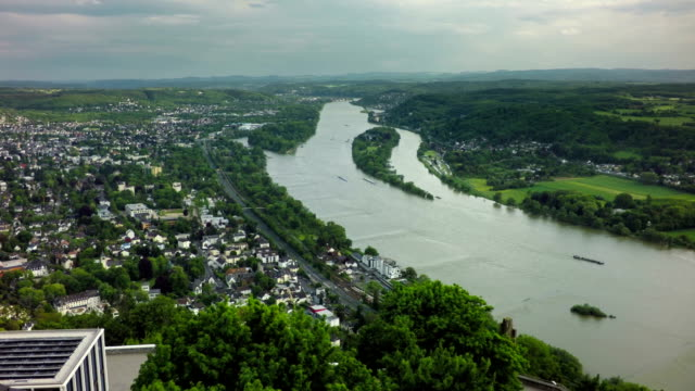 aerial shot of rhine valley with koenigswinter - river rhine stock videos and b-roll footage