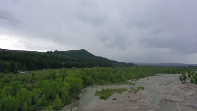 aerial shot of river flowing by green trees at forest, drone ascending forward towards mountains against cloudy sky - grand teton national park, wyoming - grand teton national park stock videos & royalty-free footage