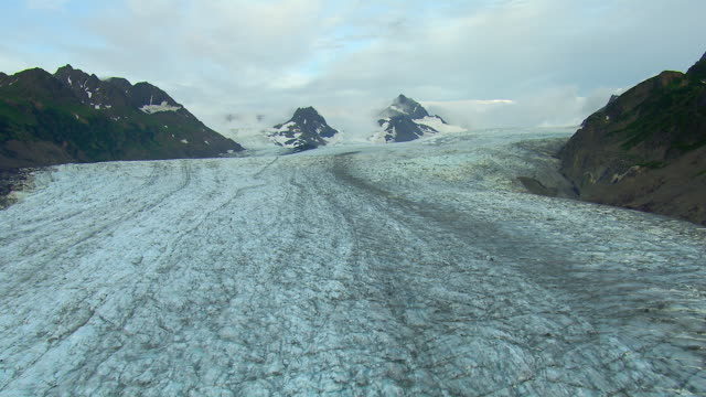 Aerial Shot Of Rugged Alaskan Glacier