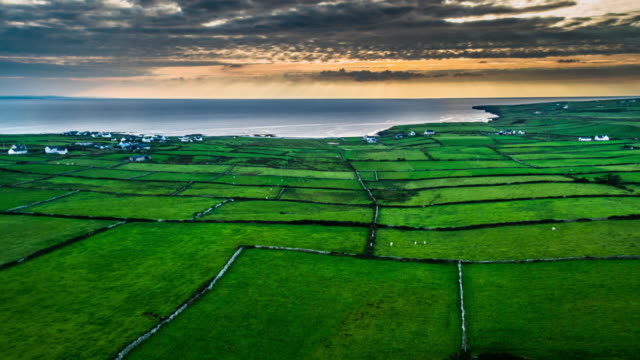 Aerial shot of rural landscape in Ireland