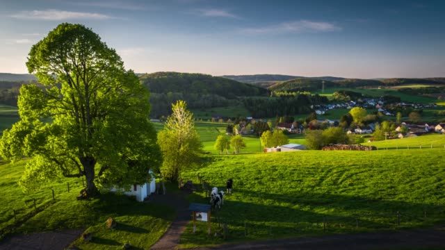 aerial shot of rural landscape with fields and villages in germany - scena rurale video stock e b–roll