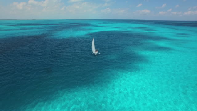 vidéos et rushes de aerial shot of sailboat sailing towards camera on beautiful clear blue tropical ocean - bateau à voile