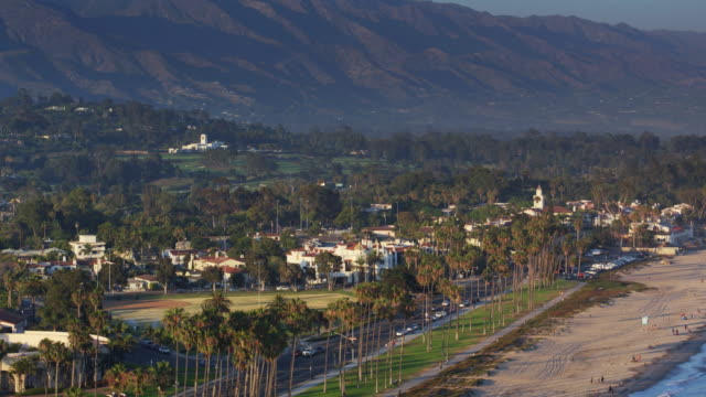 Aerial Shot of Santa Barbara Waterfront on a Summer Evening