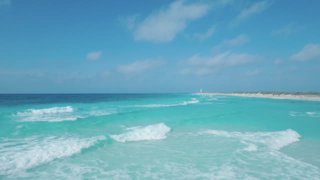 aerial shot of seascape and horizon - mayan riviera stock videos and b-roll footage