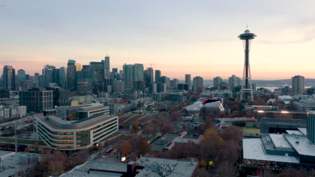 aerial shot of seattle skyline - space needle stock videos & royalty-free footage