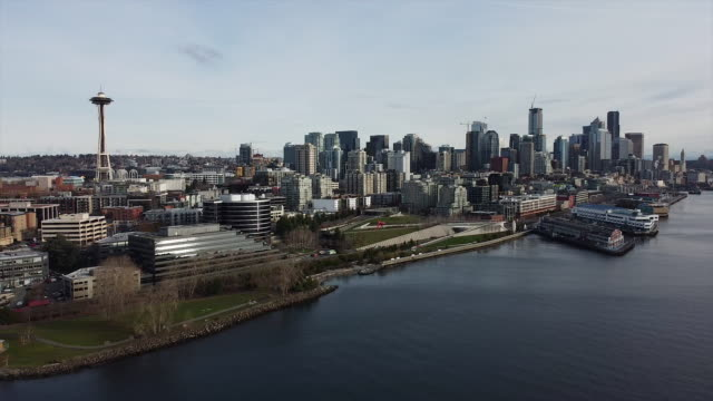 aerial shot of seattle skyline with space needle - seattle stock videos & royalty-free footage