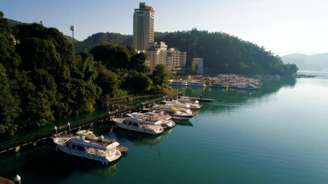 aerial shot of shuishe pier,  sun moon lake, taiwan - taipei stock videos & royalty-free footage