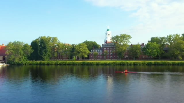 aerial shot of single sculler rowing on charles river - charles river stock videos & royalty-free footage