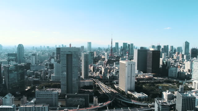 aerial shot of skyscrapers of capital city - tokyo japan stock videos & royalty-free footage