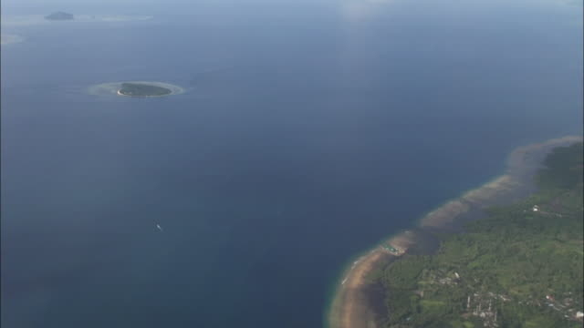 Aerial shot of small Islands in Indonesia