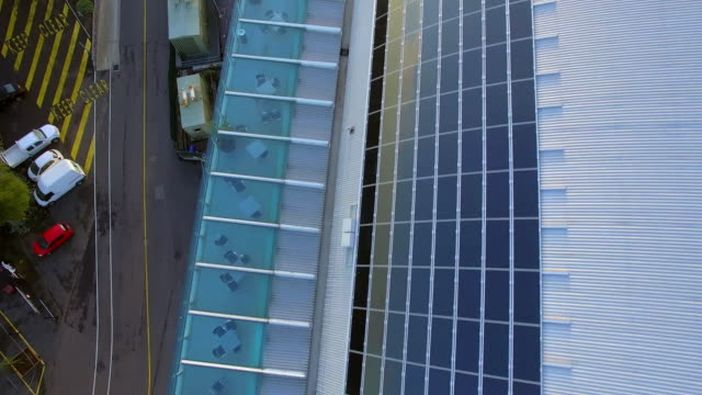 aerial shot of solar panels at flemington racecourse melbourne - david ewing stock videos & royalty-free footage