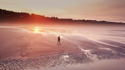 luftaufnahme der einsame frau am strand von remote auf washington küste - one person stock-videos und b-roll-filmmaterial