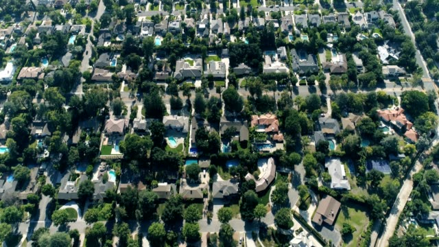 aerial shot of southern california neighborhood - quarter stock videos & royalty-free footage