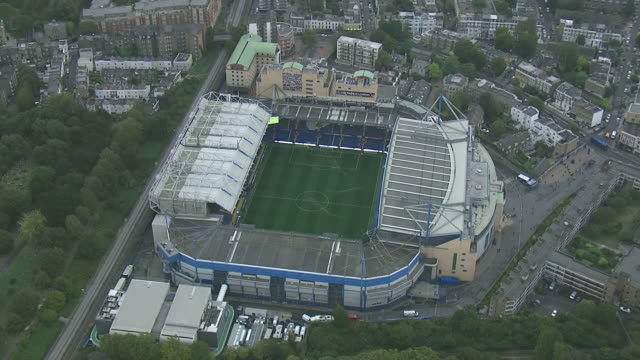 aerial shot of stamford bridge football stadium home venue of chelsea football club in london england - overhead view stock videos & royalty-free footage
