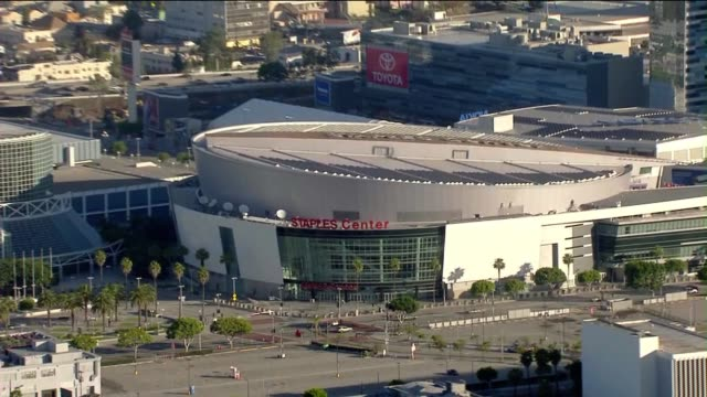 aerial shot of staples center - staples centre stock videos & royalty-free footage