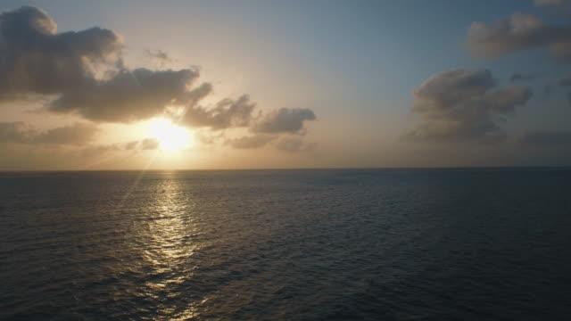 Aerial shot of sunset over seascape