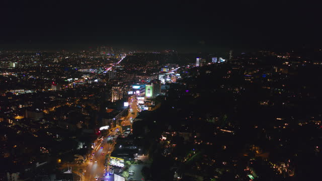 aerial shot of sunset strip, los angeles, at night - west hollywood stock videos & royalty-free footage