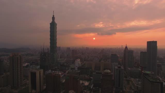 Aerial shot of Taipei at sunset, Taiwan