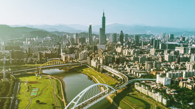 aerial shot of taipei city with bridge aside - taipei 101 stock videos & royalty-free footage