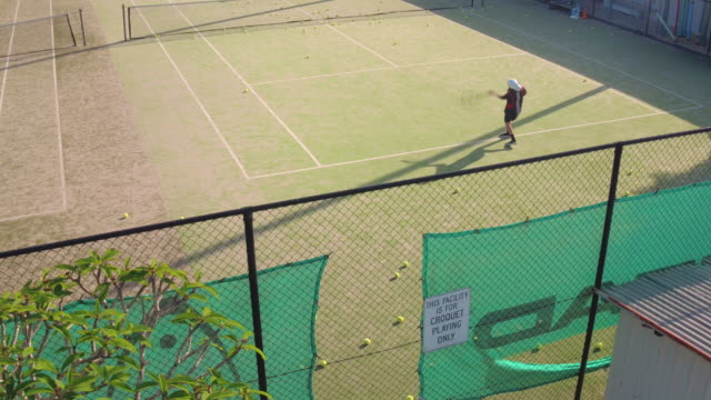 aerial shot of teenager practicing tennis - instructor stock videos & royalty-free footage