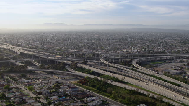 Aerial shot of the 110 and 105 interchange in Los Angeles, California.