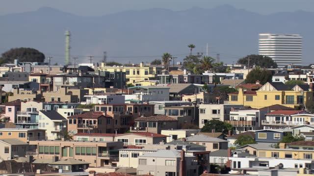 aerial shot of the affluent coastal city of manhattan beach. - el segundo stock videos and b-roll footage