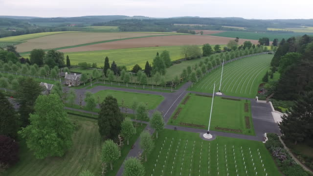 Aerial shot of the Aisne-Marne American Cemetery in France