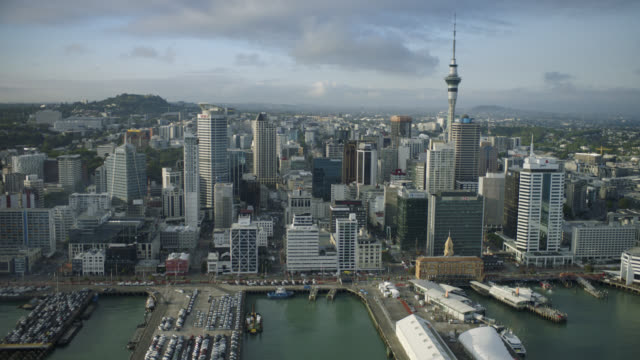 Aerial shot of the Auckland City central business district