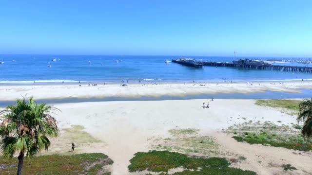 aerial shot of the beach in santa barbara, california. usa - raf stock videos & royalty-free footage