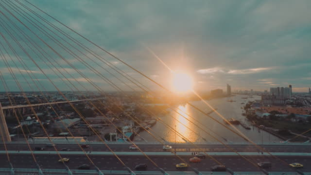 Luftaufnahme des Bhumibol bridge